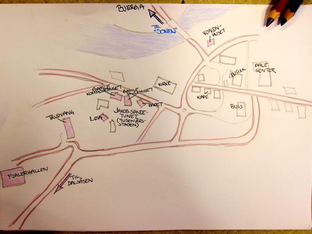 Kart over Dale. Kunstneren ønsker å forbli anonym.